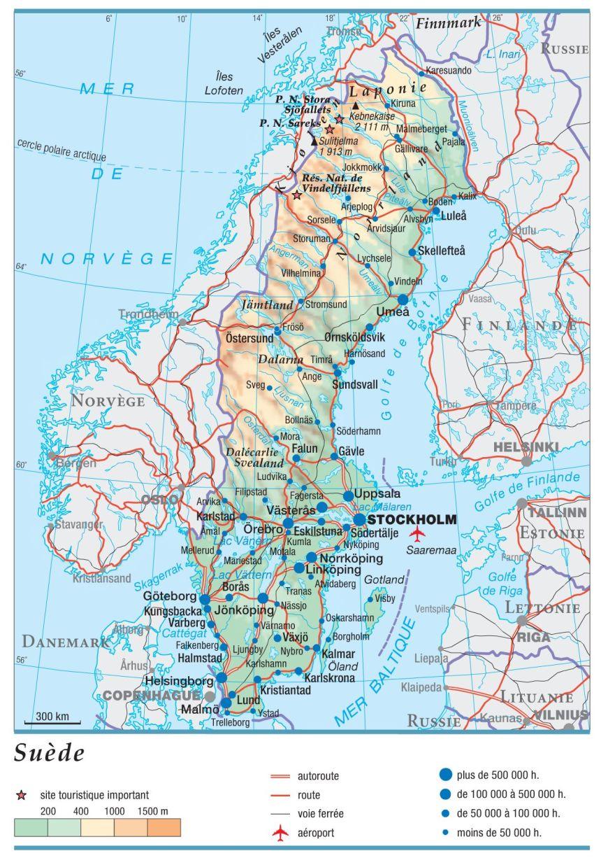 carte_suede_taille_villes_routes_autoroutes_voie_ferree_aeroport_site_touristique_altitude