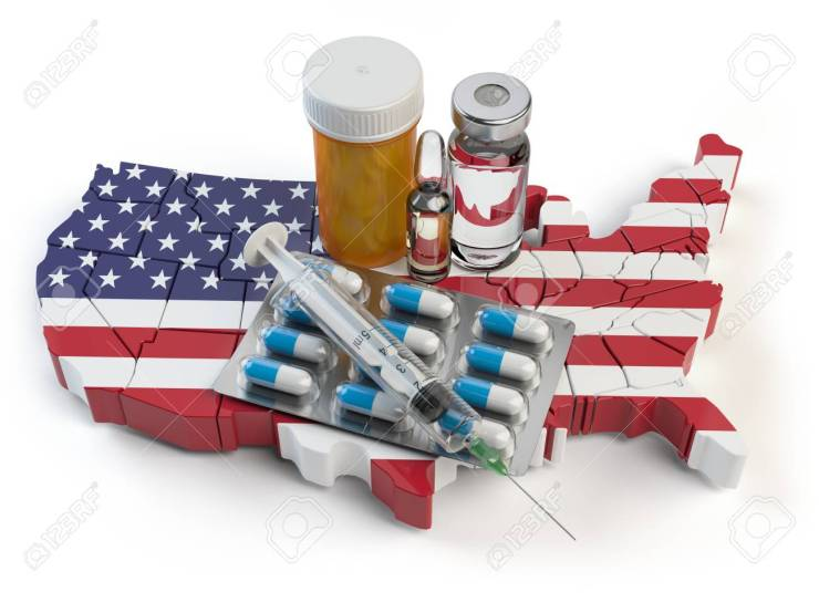 Health, healthcare, medicine and pharmacy in USA concept. Pills,