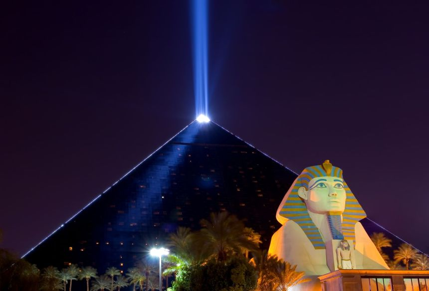 13021082 - pyramid and sphinx at night in las vegas