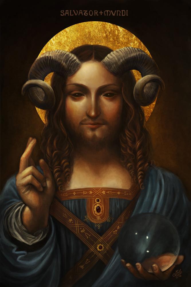 667x1000_12253_salvator_mundi_2d_surrealism_religion_jesus_christ_halo_horns_blessing_picture_image_digital_art