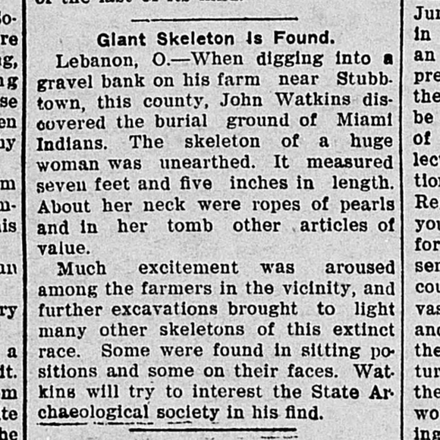 9-Twice-a-Week Plain Dealer Giant Skeleton Is Found