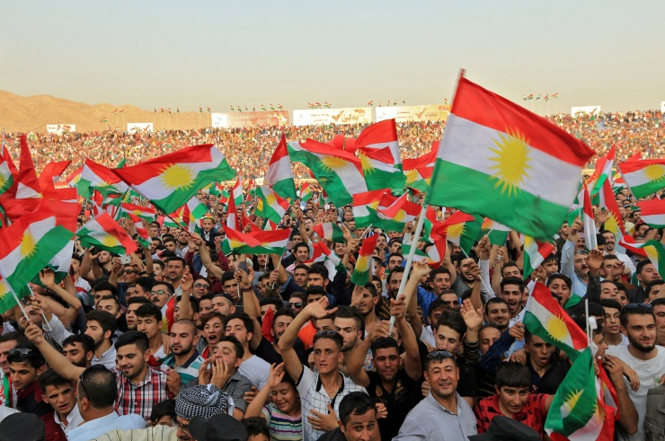 Orang Kurdi menghadiri rapat umum untuk menunjukkan dukungan mereka untuk referendum kemerdekaan 25 September mendatang di Duhuk