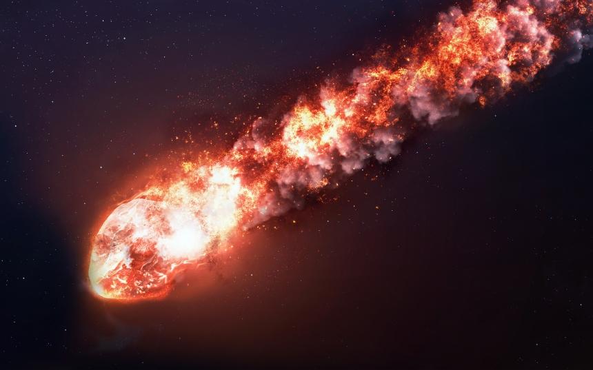 The Falling Meteor Rain. Comet in space, meteor and energy, aste