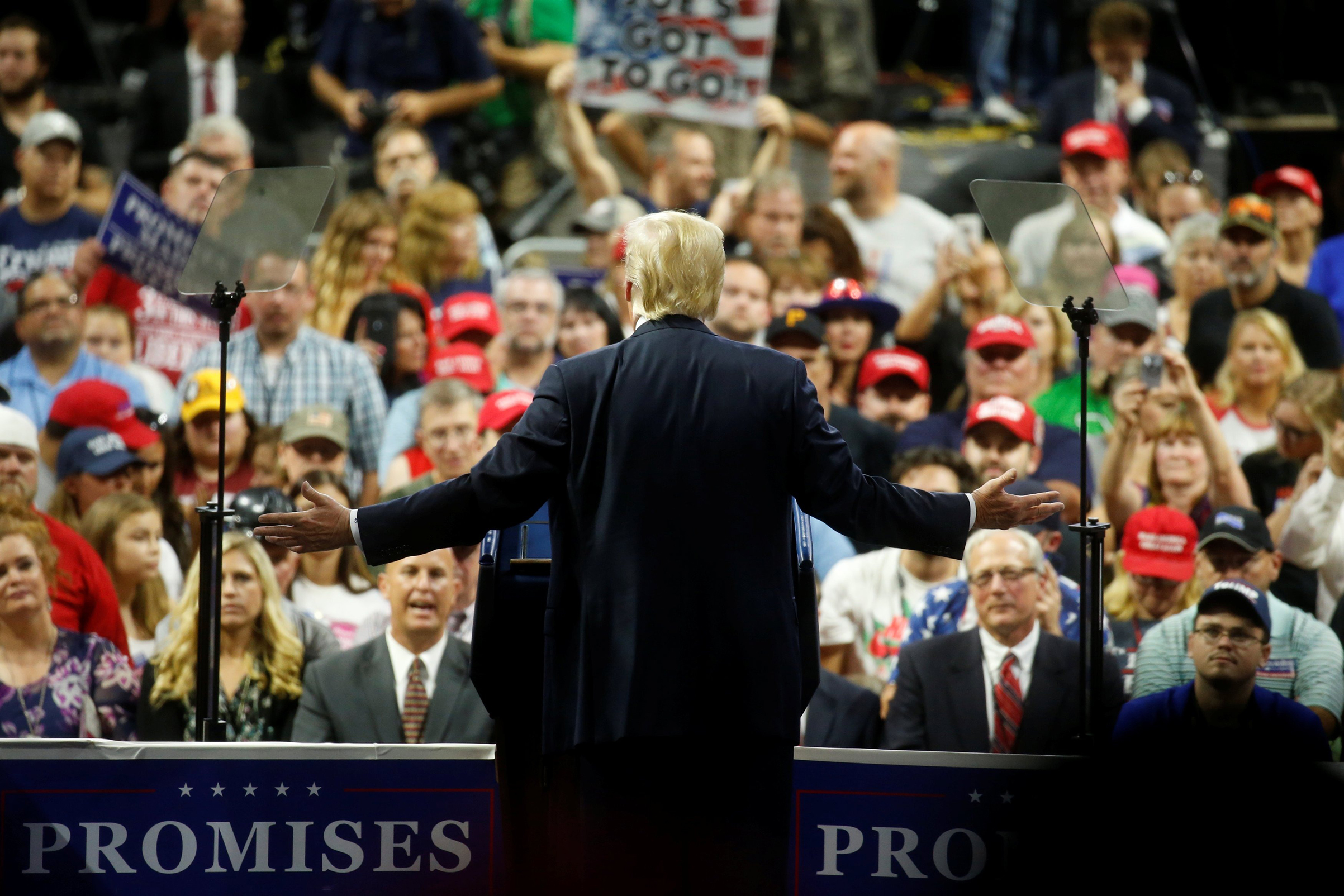 US President Donald Trump speaks at a Make America Great Again rally at the Civic Center in Charleston