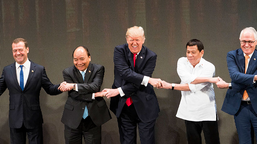 From left: Prayut Cha-O-Cha, prime minister of Thailand; Dmitry Medvedev, prime minister of Russia; Nguyen Xuan Phuc, prime minister of Vietnam; President Donald Trump; President Rodrigo Duterte of the Philippines; Malcolm Turnbull, prime minister of Aust