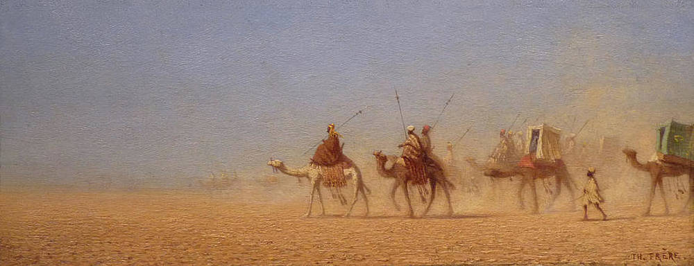 camel-train-in-the-desert-charles-theodore